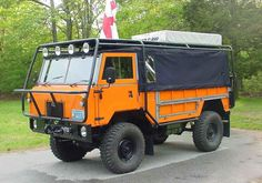 Another slightly super-sized, but very cool cab forward style backcountry camper. Notice the fold tent unit on the roof, I believe this is a Land Rover FC 101
