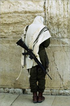 Soldier at the Wailing Wall. Israel