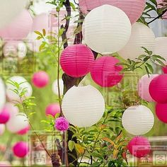 36 Mixed White Pink Hot Pink Paper Lanterns for Wedding Birthday Party Home Decoration