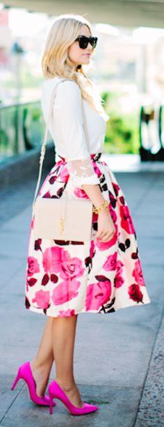 fun big pink floral skirt http://rstyle.me/n/pkrcgr9te