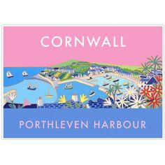 Vintage Style Seaside Poster by Joanne Short of Porthleven Harbour in Cornwall Vintage Art, Vintage Style, Vintage Fashion, Vintage Inspired, Devon And Cornwall, Railway Posters, Pink Sky, Vintage Travel Posters, Snake Gif