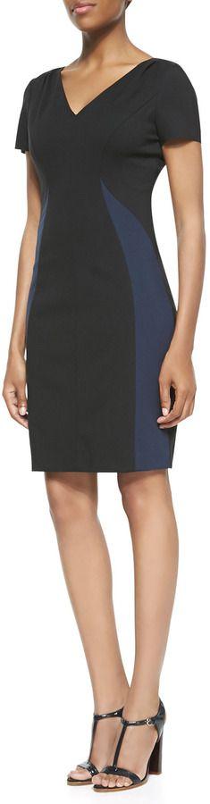 Elie Tahari Clara V-Neck Colorblock Dress on shopstyle.com
