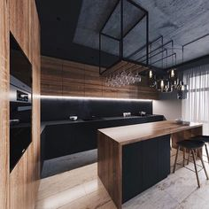 32 Amazing Modern Wood Kitchen Design Ideas - Unless you plan to spend the rest of your life in your current home if you are planning a kitchen makeover then best advice is not only to think about. Kitchen Room Design, Modern Kitchen Design, Home Decor Kitchen, Interior Design Kitchen, Kitchen Furniture, Grey Furniture, Kitchen Designs, Loft Kitchen, Apartment Kitchen