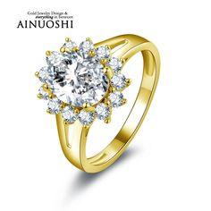 AINUOSHI 10k Solid Yellow Gold Women Wedding Rings Luxury 2 ct Oval Cut CZ Design Halo Aneis Feminino Wedding Rings for Bridal