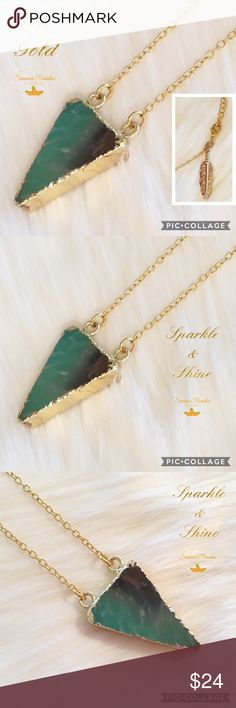 BOGO50% OFF! 💠NWT 18k Gold Jade Necklace 18k gold plated 16.5 inch gold necklace with 2 inch extender, 18k gold wrapped Jade Triangle pendant (1.1 x 0.8 inches) necklace with 18k gold leaf accent.                        💠ASK FOR A BOGO50% BUNDLE listing to be created for your selections to receive discount!              💠BOGO 50% OFF! Buy 1 item and get 2nd item of equal or less price at 50% OFF!                                   TAGS: jade necklace, gold plated necklace Summer Paradise…