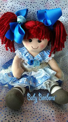 Chanukah 13 inch rag doll dressed in vintage lace by Babybonbons