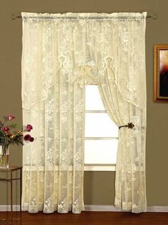 Long Ivory Abbey Rose Lace Curtain Panel By Lorraine Home Fashions: Abbey Rose crushed lace curtains have an elegant all over floral pattern high gauge lace is gently crushed for an appealing old fashioned appearance. Lace Curtain Panels, Shabby Chic Curtains, Rustic Curtains, Country Curtains, Rod Pocket Curtains, Hanging Curtains, Window Curtains, Green Curtains, Houses