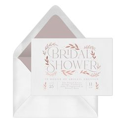 Faux Gold leaves surround this beautiful Bridal Shower invitation. Equal parts elegant and modern makes this the perfect way to invite guest to that special day. Invitation Design, Invite, Bridal Shower Invitations, Special Day, Packaging, Place Card Holders, Queen, Gold, Wedding