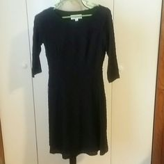 Black dress Black dress with a built in black slip. Nice pattern. Does not have tags but has never been worn. Kasper Dresses Midi