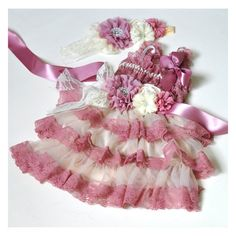Check current price 5sets/lot  Dusty Pink with Ivory  Lace Dresses Matching Baby Headband  Flower Sash Belt just only $75.00 - 97.50 with free shipping worldwide  #babygirlsclothing Plese click on picture to see our special price for you