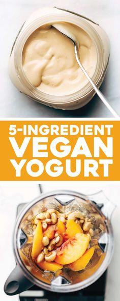 "Minute Vegan ""Yogurt"" This Creamy Dreamy Vegan Yogurt is the BEST! Made in five minutes with three ingredients and naturally sweetened. Breakfast Snacks, Vegan Breakfast Recipes, Vegetarian Recipes, Healthy Recipes, Easy Recipes, Vegan Foods, Vegan Snacks, Healthy Snacks, Vegan Sweets"