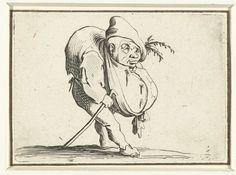 Jacques Callot   Dwerg met wandelstok, Jacques Callot, 1621 - 1625   Dwerg, op de rechterzijde gezien, met een gebochelde rug en een dikke buik of grote krop, een muts met takjes op het hoofd, een wandelstok in de rechterhand. Deze prent is onderdeel van een serie van 21 prenten met groteske figuren; vrijwel al die figuren zijn dwergen, velen zijn gebocheld.