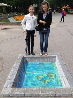 Amazing 3D Chalk Art - The Pond #art #ttot