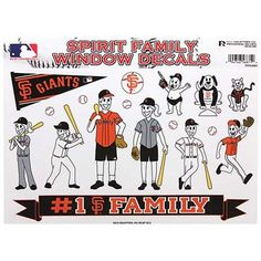 San Francisco Giants Family Auto Decals Sheet, perfect for the family car