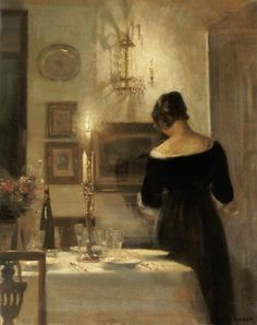 a candlelit evening room and a lady in black by Danish painter Carl Vilhelm Holsøe Tableaux Vivants, Dramatic Lighting, Aarhus, Beautiful Paintings, Love Art, Oeuvre D'art, Art Boards, Art History, Painting & Drawing