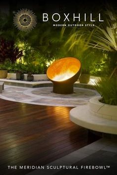 Our steel The Meridian Sculptural Firebowl has a canted bowl that is a study in balance and an homage to the phases of the moon. Shop BOXHILL for style!