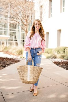 This off the shoulder bow top is a must have for spring. It comes in pink and navy, and is under $50! I am in love with mine, and can't wait for you to see