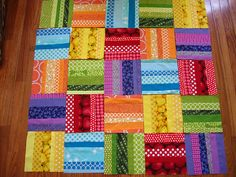 Needle and Spatula: Rainbow Rail Quilt Progress/WIP Wednesday Jellyroll Quilts, Scrappy Quilts, Easy Quilts, Bright Quilts, Colorful Quilts, Quilt Block Patterns, Quilt Blocks, Sewing Patterns, Rail Fence Quilt