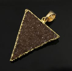 Dazzling Druzy Triangle Pendant in Stunning Earth Tones, Heavy Gold Plated, 29x33mm, A+ Gorgeous Quality, Electroplated Edge (DZY/TRI/133) by Beadspoint on Etsy
