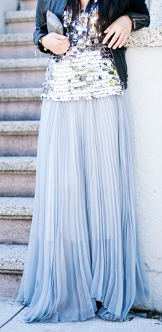 Leather + sparkle + pleated long pastel skirt
