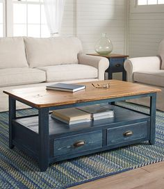 """With its unique character and handsome good looks, this coffee table will easily become the centerpiece of your living room. This rustic piece is handcrafted from rough-sawed pine that's sanded by hand, stained and finished with a durable low-sheen topcoat. No two pieces are exactly alike. Two-tone features a blue base with a dark natural top. Two drawers and an open shelf provide storage space. Arrives full assembled. Made in the USA.</p> <p><b>Dimensions </b>20""""H <b>x </b>48""""W <b>x…"""