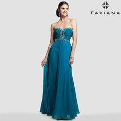 #Faviana #style 7366 dazzles in Peacock Green. #prom #bedazzled   http://www.faviana.com/catalog/dress-7366