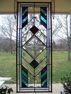 Starburst  bevel rectangular stained glass panel. $155.00, via Etsy.