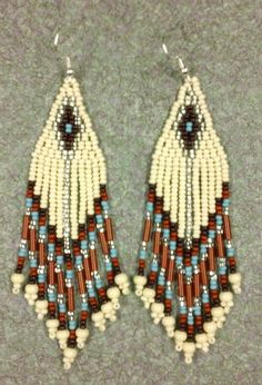 Native American Style Bone Turquoise Browns Beaded Earrings | eBay