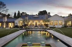 KANYE & KIM'S CALIFORNIA HOME: lovely #fountains and immaculate #landscaping surround the #property