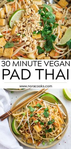 30 Minute Vegan Pad Thai with tofu and the most incredible, simple sauce! Better than take-out. #vegan #plantbased