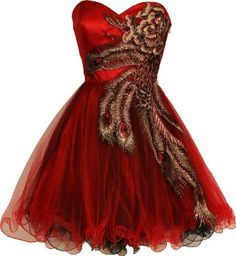 metallic peacock red and black short prom dresses with corset and tutu skirt - Best tutu peacock prom dress! Holiday Party Dresses, Prom Party Dresses, Party Gowns, Homecoming Dresses, Bridesmaid Dresses, Dress Prom, Bridesmaids, Graduation Dresses, Homecoming Dance