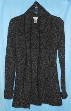 $49.99 --CACHE Women/Junior Sz XS Open Front Long Sweater Sweatercoat Cardigan Black/Gray