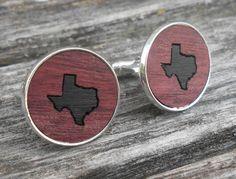 Wood Inlay TEXAS State Cufflinks. Laser Engraved. Wedding, Men's, Groomsmen Gift, Dad. Custom Orders Welcome. Austin, Dallas by TreeTownPaper on Etsy