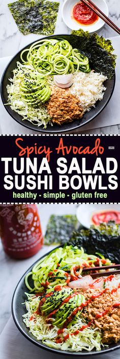 Spicy avocado tuna salad sushi bowls. A protein packed gluten free tuna salad mixed with healthy sushi ingredients, then tossed all in a bowl. #paleo friendly @cottercrunch