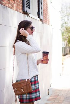 J.Crew plaid skirt and cableknit sweater holiday style via With Style and a Little Grace