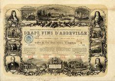SOCIÉTÉ ÉTABLIE POUR L'EXPLOITATION DE L'ANCIENNE MANUFACTURE ROYALE DRAPS FINS D'ABBEVILLE   Aktie über Frcs. 500; #2110; Paris, 1855; Farbe: beige, hellbraun, grau, schwarz; Maße: 34,4 X 44,3; - Die Aktie wurde am 15. Juli 1857 umgeschrieben als Namens-Inhaberaktie. Die Indossierung befindet sich auf dem unteren Rand. Gründeraktie ! Originalunterschrift: J. Randoing, 1X als Garant, 1X die handschriftliche Übertragung der Aktie !