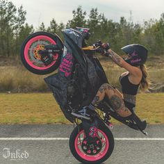 """Inked Magazine on Instagram: """"Tattoo model and stunt rider Sam Cook (@savagexsam) is pulling out all her best tricks and looking damn good doing them 🏍️ Photos by…"""" Bike Rally, Inked Magazine, Sport Bikes, Stunts, Sexy, Bicycle, Photo And Video, Female, Tattoos"""