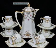 Hand Painted & Gold Gilt 13pc Nippon Porcelain Cocoa Hot Chocolate Service Teapots & Tea Sets