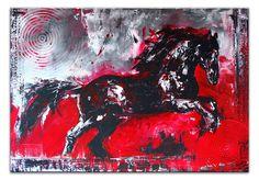 Springendes Pferd - Pferdebild Malerei Gemälde Unikat Schwarzer Hengst - Pferdebild Malerei Gemälde Unikat www.burgstallers-art.de/online-shop