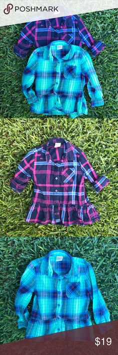 Flannel Peplum Bundle Gently used. Absolutely adorable! Arizona Jean Company Shirts & Tops Button Down Shirts