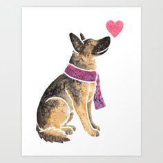 Watercolour German Shepherd Dog Coffee Mug by animalartbyjess - 11 oz German Shepherd Painting, German Shepherd Tattoo, German Shepherd Puppies, German Shepherds, Dog Coffee, Schaefer, Dog Silhouette, Art Design, Dog Art