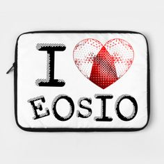 Shop I love EOSIO blockchain laptop cases designed by Jiggabola as well as other blockchain merchandise at TeePublic.