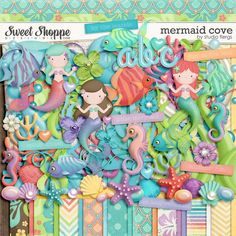 CLICK HERE to save $$$ when you buy the bundle! A digital scrapbooking kit by Studio Flergs. Mermaid Cove is a full filled kit perfect for your little mermaid. Great for pages about dressing up, swimming, birthdays, the beach... anything you can think of. Great for party invitations too. Soft pretty colours and loaded with fun pieces. Includes 10 patterned papers & 10 solid papers, glossy blue alpha with glitter edge (separate letters), 70+ elements.