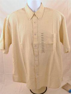 IZOD Men's Size Large 100% Cotton Short Sleeve Button Down Collar Shirt #IZOD #ButtonFront