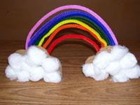 Rainbow Cardboard Craft for Rainbow Theme.  You can learn more about them at Making Learning Fun.