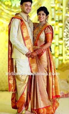 Wedding Reception South Indian Bride And Groom Dress Color Combination Engagement Dress For Groom, Couple Wedding Dress, Wedding Dresses Men Indian, Groom Wedding Dress, Indian Bridal Wear, Groom Dress, Saree Wedding, Wedding Party Dresses, Men Dress