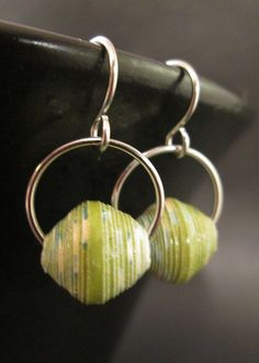 Paper Bead Earrings Small Green Paper Beads by MarjEngleDesigns