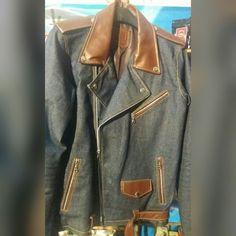 Leather jacket with denim combination  Original form garut indonesia  $50