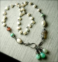 "Rustic Multi Gemstone Necklace. Peruvian Opal, Sunstone, Freshwater Pearls, 17.5"" length - sold.  By PoppyLayne on Etsy."