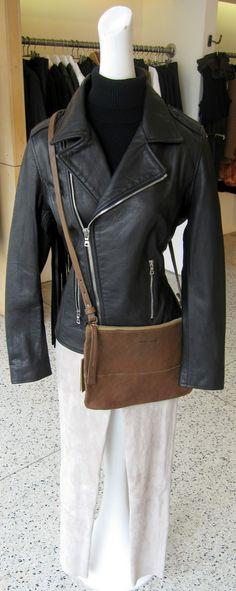 RTA back fringe leather jacket, Organic cashmere sleeveless turtleneck and Stand washable suede legging